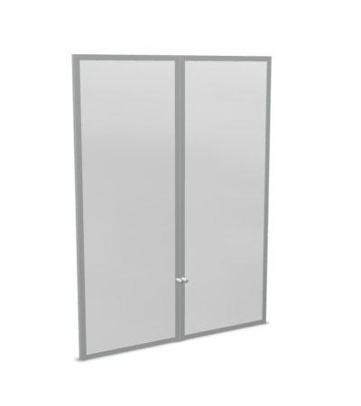 Drzwi szklane z ramką aluminiową, mleczne HS300
